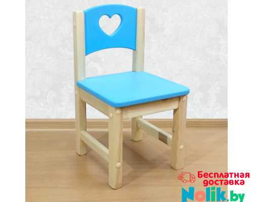 """Стульчик детский деревянный из массива """"Сердечко"""". Высота до сиденья 27 см. Цвет голубой с натуральным. Арт. SN-27-s в Минске"""