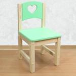 """Стул детский деревянный из массива """"Сердечко"""". Высота до сиденья 27 см. Цвет салатовый с натуральным. Арт. SN-27-s"""