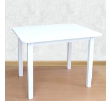 Деревянный столик со скругленными углами для игр и занятий (столешница МДФ 70*50см). Высота 50 см. Цвет белый. Арт. 7050W