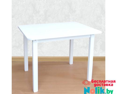 Деревянный столик со скругленными углами для игр и занятий (столешница МДФ 70*50см). Высота 50 см. Цвет белый. Арт. 7050W в Минске