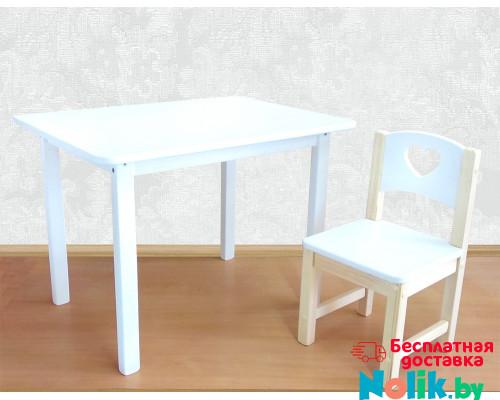 Деревянные детские столики и стульчики. Столик со скругленными углами и стульчиком. (Столешница 70*50 см). Цвет белый. Арт. 7050W+SN-27-S в Минске