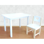 Деревянные детские столики и стульчики. Столик со скругленными углами и стульчиком. (Столешница 70*50 см). Цвет белый. Арт. 7050W+SN-27-S