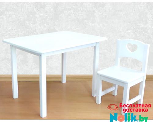 Детский столик и стульчик деревянный. Столик со скругленными углами и стульчиком. (Столешница 70*50 см). Цвет белый. Арт. 7050W+SO-27-S в Минске