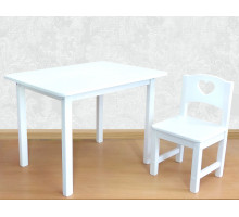 Детский столик и стульчик деревянный. Столик со скругленными углами и стульчиком. (Столешница 70*50 см). Цвет белый. Арт. 7050W+SO-27-S