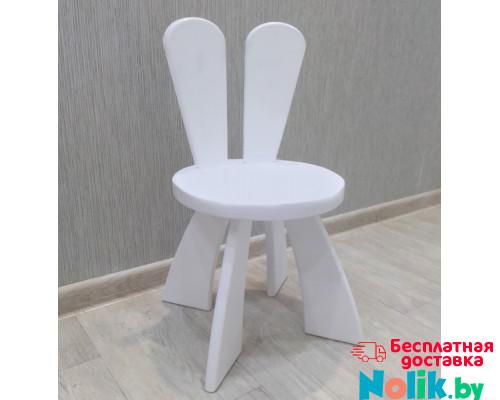 Детский стульчик Зайка деревянный из массива.Стул с ушками. Высота до сиденья 27 см. Цвет белый. Арт. SZ-27-O в Минске