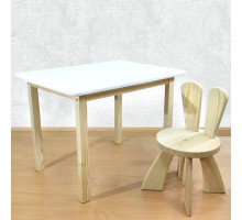 Детский столик и стульчик деревянный. Столик со скругленными углами и стульчиком Зайчик. (Столешница 70*50 см). Цвет белый с натуральным. Арт. 7050NW+SZF-27-N