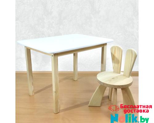 Детский столик и стульчик деревянный. Столик со скругленными углами и стульчиком Зайчик. (Столешница 70*50 см). Цвет белый с натуральным. Арт. 7050NW+SZF-27-N в Минске