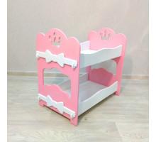 Кроватка для кукол двухъярусная деревянная (подходит для больших кукол 49 см). Цвет розовый с белым. Арт. 2R-KMO-3