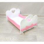 Кроватка для кукол детская деревянная  (подходит для больших кукол 49 см). Цвет белый с розовым. Арт. KMO-20