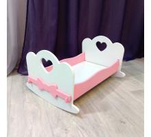 Кроватка для кукол качалка деревянная (подходит для больших кукол 49 см). Цвет белый с розовым. Арт. KMO-21K