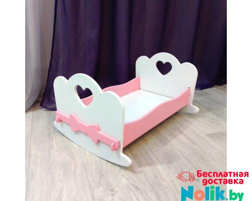 Кроватка для кукол качалка деревянная (подходит для больших кукол 49 см). Цвет белый с розовым. Арт. KMO-21K в Минске