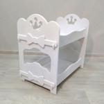 Кроватка для кукол двухъярусная деревянная (подходит для больших кукол 49 см). Цвет белый. Арт. 2R-KMO-4
