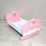 Кроватка качалка для куклы деревянная (подходит для больших кукол 49 см). Цвет розовый с белым. Арт. KMO-22K
