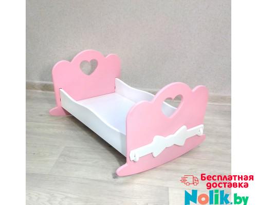 Кроватка качалка для куклы деревянная (подходит для больших кукол 49 см). Цвет розовый с белым. Арт. KMO-22K в Минске