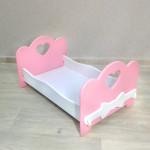 Кроватка для кукол детская деревянная  (подходит для больших кукол 49 см). Цвет розовый с белым. Арт. KMO-23