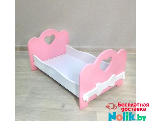 Кроватка для кукол детская деревянная  (подходит для больших кукол 49 см). Цвет розовый с белым. Арт. KMO-23 в Минске