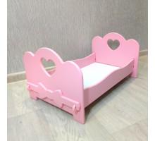Кроватка для кукол бэби бон деревянная (подходит для больших кукол 49 см). Цвет розовый. Арт. KMO-24