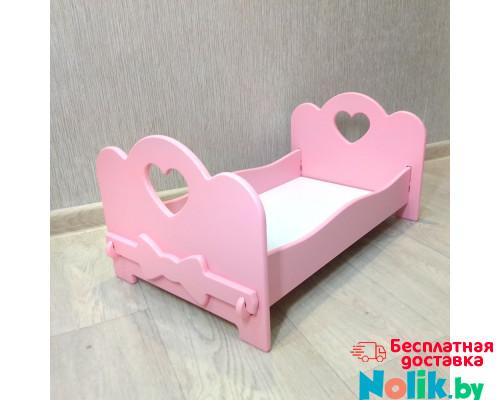 Кроватка для кукол бэби бон деревянная (подходит для больших кукол 49 см). Цвет розовый. Арт. KMO-24 в Минске