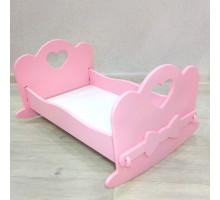 Кукольная кроватка качалка деревянная (подходит для больших кукол 49 см). Цвет розовый. Арт. KMO-25K