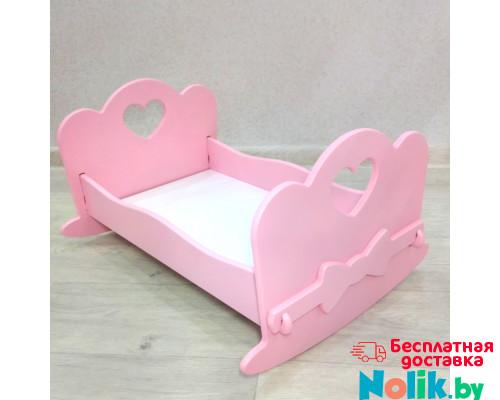 Кукольная кроватка качалка деревянная (подходит для больших кукол 49 см). Цвет розовый. Арт. KMO-25K в Минске