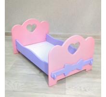 Мебель для кукол кроватка деревянная (подходит для больших кукол бэби бон 49 см). Цвет розовый с сиреневым. Арт. KMO-26
