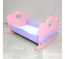 Кроватка качалка для кукол деревянная (подходит для больших Барби 49 см). Цвет розовый с сиреневым. Арт. KMO-27K
