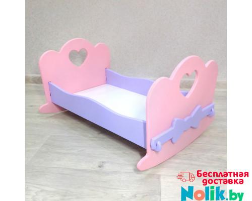 Кроватка качалка для кукол деревянная (подходит для больших Барби 49 см). Цвет розовый с сиреневым. Арт. KMO-27K в Минске