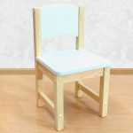 Детский стульчик деревянный из массива. Высота до сиденья 27 см. Цвет белый с натуральным. Арт. SN-27