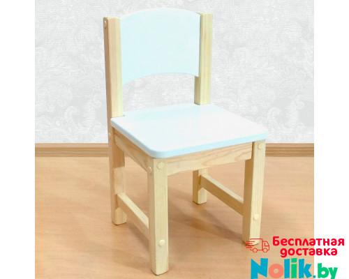 Детский стульчик деревянный из массива. Высота до сиденья 27 см. Цвет белый с натуральным. Арт. SN-27 в Минске