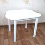 Детский деревянный столик Облачко со скругленными углами для игр и занятий (столешница ламинированная 70*50см). Высота 50 см. Цвет белый. Арт. 7050-OW
