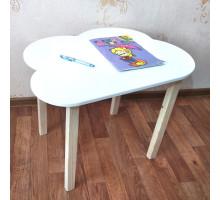 Столик детский Облачко деревянный со скругленными углами для игр и занятий (столешница ламинированное МДФ 70*50см). Высота 50 см. Цвет белый с натуральным. Арт. 7050-ON