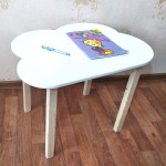 Столик детский Облачко деревянный со скругленными углами для игр и занятий (столешница МДФ 70*50см). Высота 50 см. Цвет белый с натуральным. Арт. 7050-ON