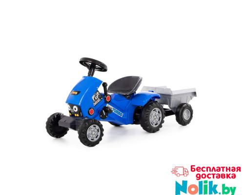 """Каталка-трактор с педалями """"Turbo-2"""" (синяя) с полуприцепом арт. 84651. Полесье в Минске"""