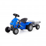 """Каталка-трактор с педалями """"Turbo-2"""" (синяя) с полуприцепом арт. 84651. Полесье"""
