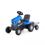 """Каталка-трактор с педалями """"Turbo"""" (синяя) с полуприцепом арт. 84637. Полесье"""