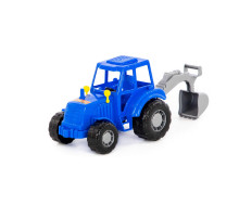 """Трактор """"Мастер"""" (синий) с лопатой (в сеточке) арт. 84873. Полесье"""