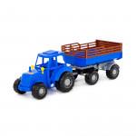 """Трактор """"Мастер"""" (синий) с прицепом №2 (в сеточке) арт. 84781. Полесье"""