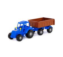 """Трактор """"Мастер"""" (синий) с прицепом №1 (в сеточке) арт. 84774. Полесье"""