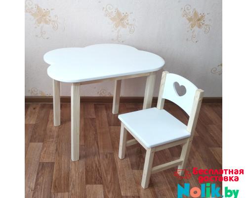Детский столик облако и стульчик деревянный. Столик облако со скругленными углами и стульчиком. (Столешница 70*50 см). Цвет белый с натуральным. Арт. 7050-ON+SN-27-S в Минске