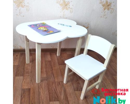 Детский деревянный столик  облако со скругленными углами и стульчиком. (Столешница 70*50 см). Цвет белый с натуральным. Арт. 7050-ON+SN-27 в Минске