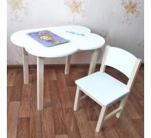 Детский деревянный столик  облако со скругленными углами и стульчиком. (Столешница 70*50 см). Цвет белый с натуральным. Арт. 7050-ON+SN-27
