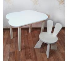 Деревянные детские столик и стульчик зайчик. Столик облако со скругленными углами (столешница 70*50). Цвет белый с натуральным. Комплект мебели. Арт. 7050-ON+SZF-27-N