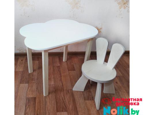 Деревянные детские столик и стульчик зайчик. Столик облако со скругленными углами (столешница 70*50). Цвет белый с натуральным. Комплект мебели. Арт. 7050-ON+SZF-27-N в Минске