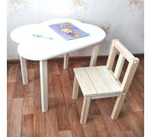 Комплект мебели детские столик и стульчик. Столик облако со скругленными углами (столешница 70*50). Цвет белый с натуральным. Арт. 7050-ON+SVN-27