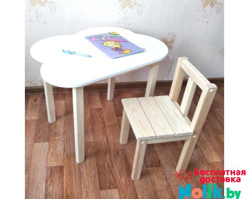 Комплект мебели детские столик и стульчик. Столик облако со скругленными углами (столешница 70*50). Цвет белый с натуральным. Арт. 7050-ON+SVN-27 в Минске