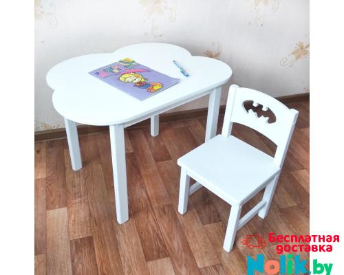 Детский комплект мебели . Столик облако со скругленными углами (столешница 70*50). Цвет белый. Арт. 7050-OW+SO-27-B в Минске