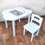 Детский комплект мебели . Столик облако со скругленными углами (столешница 70*50). Цвет белый. Арт. 7050-OW+SO-27-B