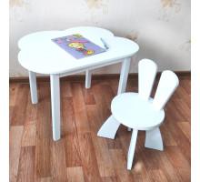 Деревянные детские столик и стульчик зайчик. Столик облако (столешница 70*50) стульчик зайка. Цвет белый. Комплект мебели. Арт. 7050-OW+SZ-27-O