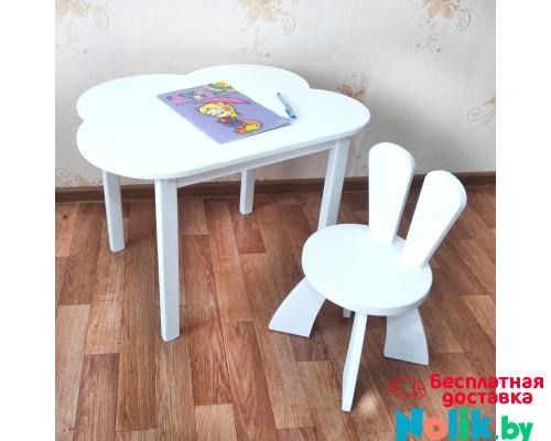 Деревянные детские столик и стульчик зайчик. Столик облако (столешница 70*50) стульчик зайка. Цвет белый. Комплект мебели. Арт. 7050-OW+SZ-27-O в Минске