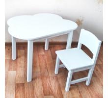 Комплект мебели . Детский столик облако со скругленными углами и стульчик (столешница 70*50). Цвет белый. Арт. 7050-OW+SO-27